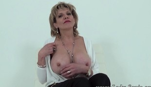 Playful Aunt Sonia agrees to show off her racy 34G bazookas