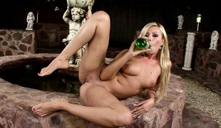 Mesmerizing fair-haired with big hooters punishes her holes with a bottle