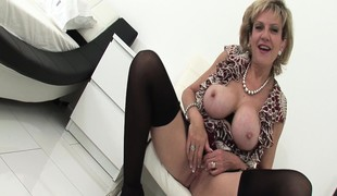Buxom wife flatland stockings makes will not hear of nipples everlasting and will not hear of pussy soaking