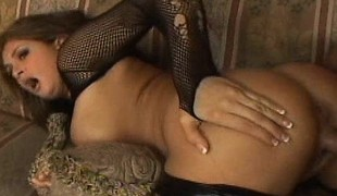 Unbowdlerized hottie in lingerie Tory Lane has a hard stick drilling her ass