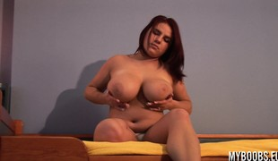 Lubricious gloominess Marysia takes off her orange shirt up fondle her huge titties