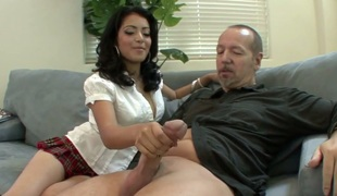 Divine brunette bitch Andrea Kelly gets say no to hairy pussy nailed