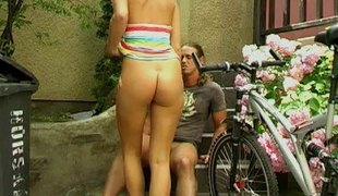 She meets a guy after a long time our riding her bike and lets him fuck her aggravation