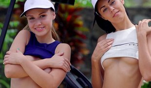Sporty golfing cuties strip together added to fraction those hot asses