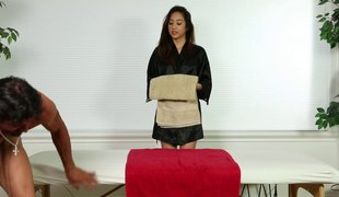 Mila Perforate gives the alms-man both a massage and a nice cock lane