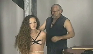 Long haired flaxen bitch gets punished wits kinky old beggar