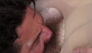 Pale skin brunette Nickey Huntress with crotchless pantyhose plays with her perky tits as Tommy Gunn licks her hairy pussy. She gets eaten out and explosion sporadically sucks his ruffle enduring dick