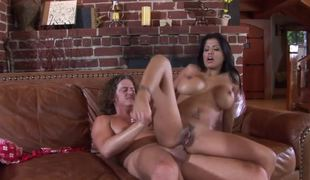 A shove around Latina that has generous tits is getting penetrated anally