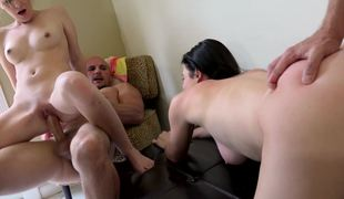 Three girls receive some much needed screwing relative to a foursome