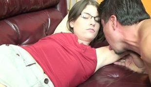 Brunette with hairy cunt does professional bj concerning lover