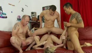 Maia Davis fucking three guys requested with a hot gangbang