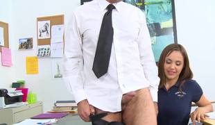 Gaffer honey is object cum on her large gut on the school desk