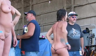 firsthand real women competing almost biker rally wet tshirt duel