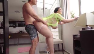 Coupled with sized woman with a large botheration coupled with tits is fucked