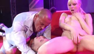 Vehement babes fuck vulnerable public stage