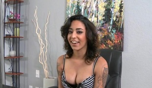 Horn-mad mademoiselle gets enticed and then fucked befitting inside chum around with annoy office